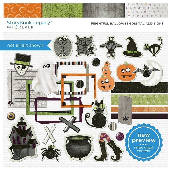 Frightful Halloween Digital Additions  Digital Art - Digital Scrapbooking Kits
