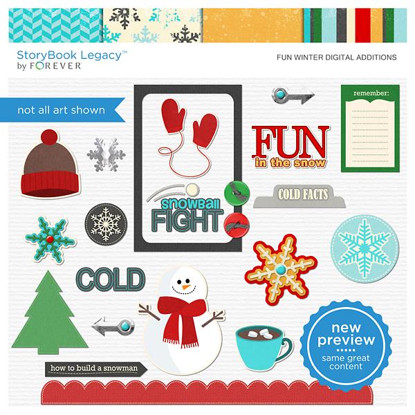 Fun Winter Digital Additions Digital Art - Digital Scrapbooking Kits