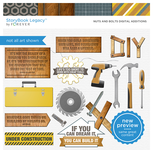 Nuts And Bolts Digital Additions Digital Art - Digital Scrapbooking Kits