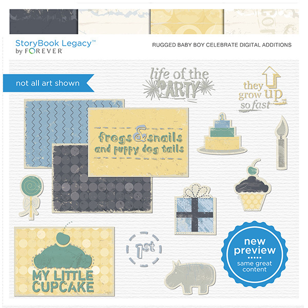Rugged Baby Boy Celebrate Digital Additions Digital Art - Digital Scrapbooking Kits