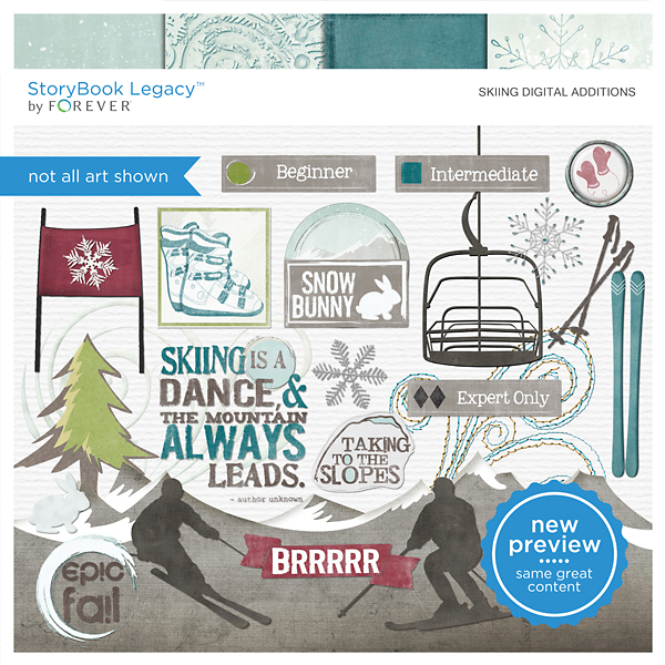 Skiing Digital Additions Digital Art - Digital Scrapbooking Kits