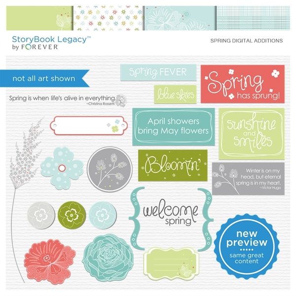 Spring Digital Additions Digital Art - Digital Scrapbooking Kits