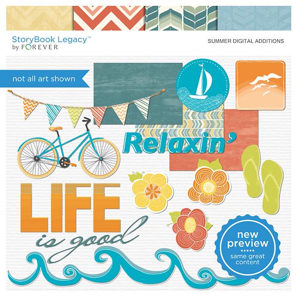 Summer Digital Additions Digital Art - Digital Scrapbooking Kits