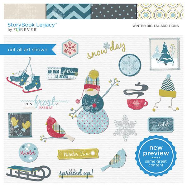 Winter Digital Additions Digital Art - Digital Scrapbooking Kits