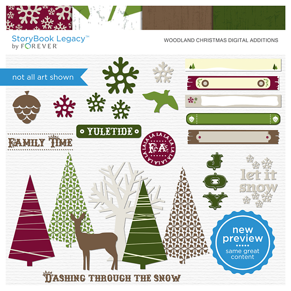 Woodland Christmas Digital Additions Digital Art - Digital Scrapbooking Kits