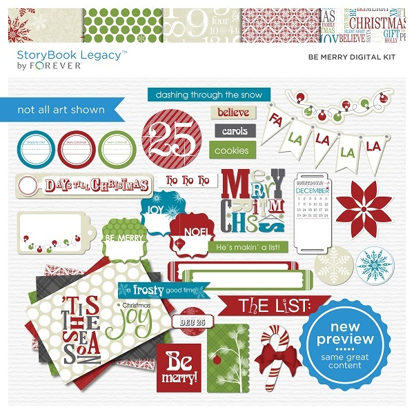 Be Merry Digital Kit Digital Art - Digital Scrapbooking Kits