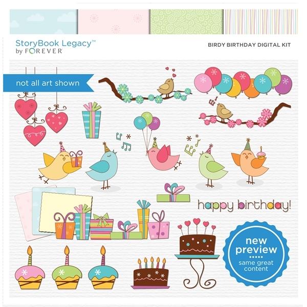 Birdy Birthday Digital Kit Digital Art - Digital Scrapbooking Kits