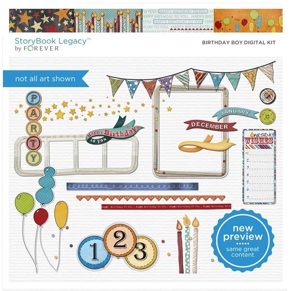 Birthday Boy Digital Kit Digital Art - Digital Scrapbooking Kits