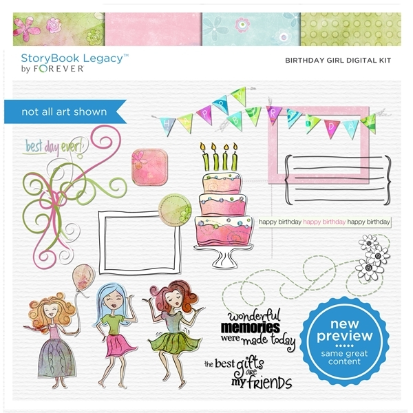 Birthday Girl Digital Kit Digital Art - Digital Scrapbooking Kits