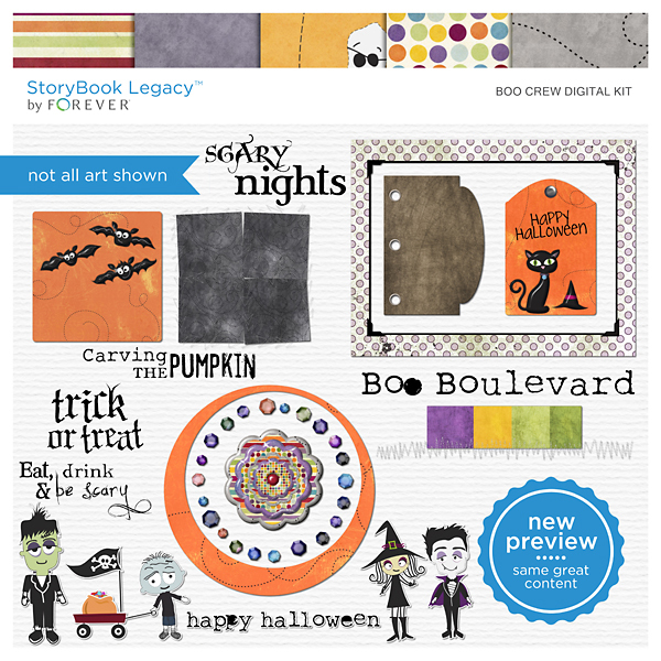 Boo Crew Digital Kit Digital Art - Digital Scrapbooking Kits