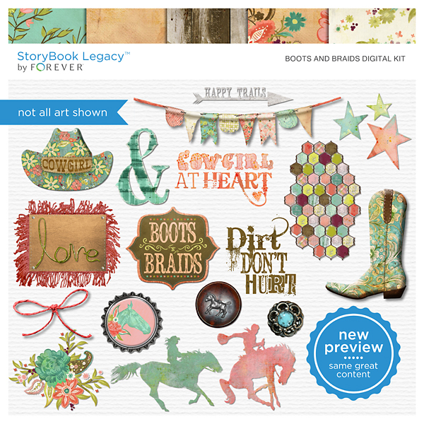 Boots And Braids Digital Kit Digital Art - Digital Scrapbooking Kits