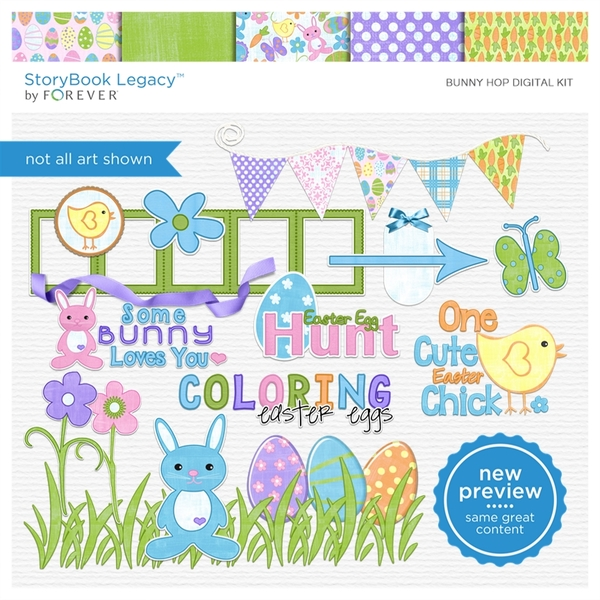 Bunny Hop Digital Kit Digital Art - Digital Scrapbooking Kits
