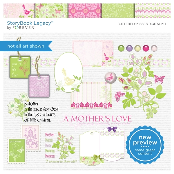 Butterfly Kisses Digital Kit Digital Art - Digital Scrapbooking Kits