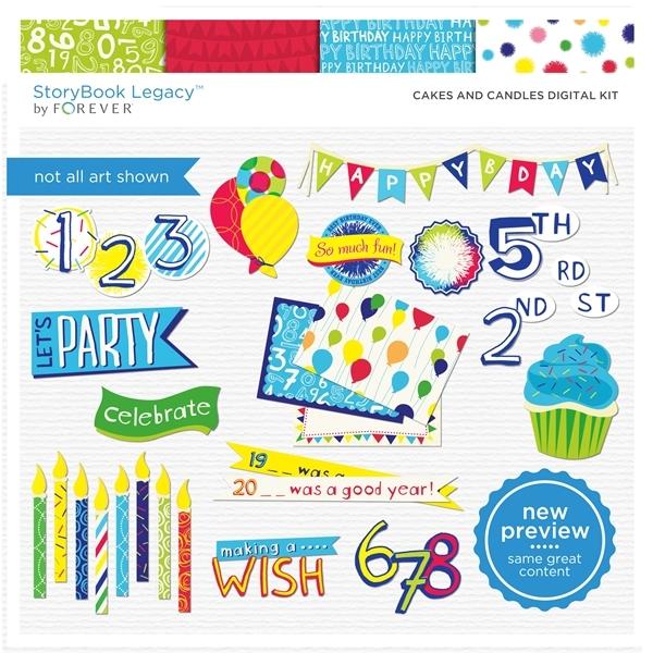 Cakes And Candles Digital Kit Digital Art - Digital Scrapbooking Kits