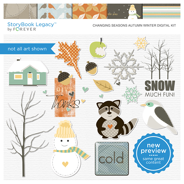 Changing Seasons Autumn Winter Digital Kit Digital Art - Digital Scrapbooking Kits