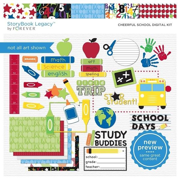 Cheerful School Digital Kit Digital Art - Digital Scrapbooking Kits