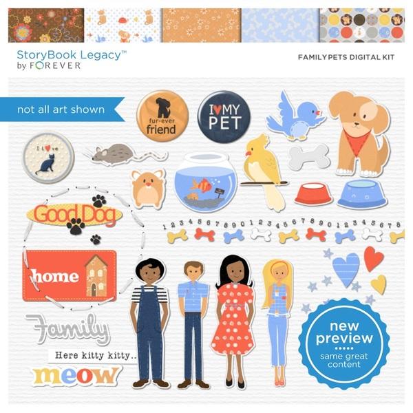 Family Pets Digital Kit Digital Art - Digital Scrapbooking Kits