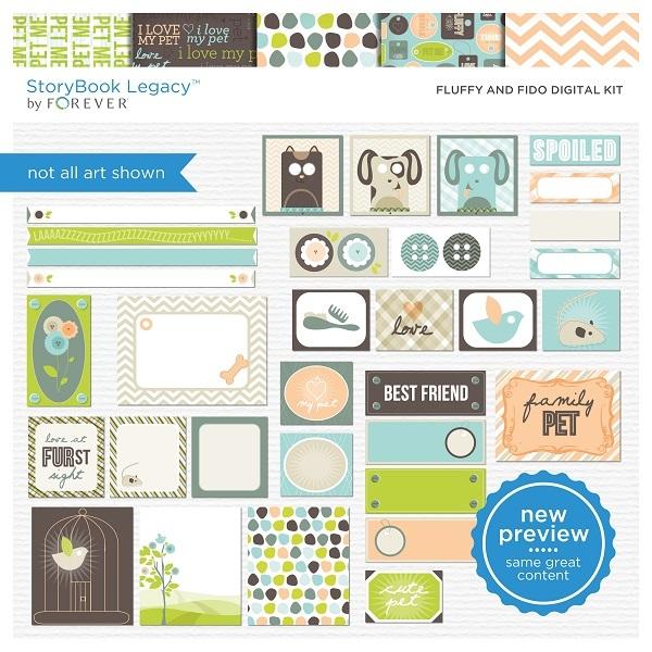 Fluffy And Fido Digital Kit Digital Art - Digital Scrapbooking Kits