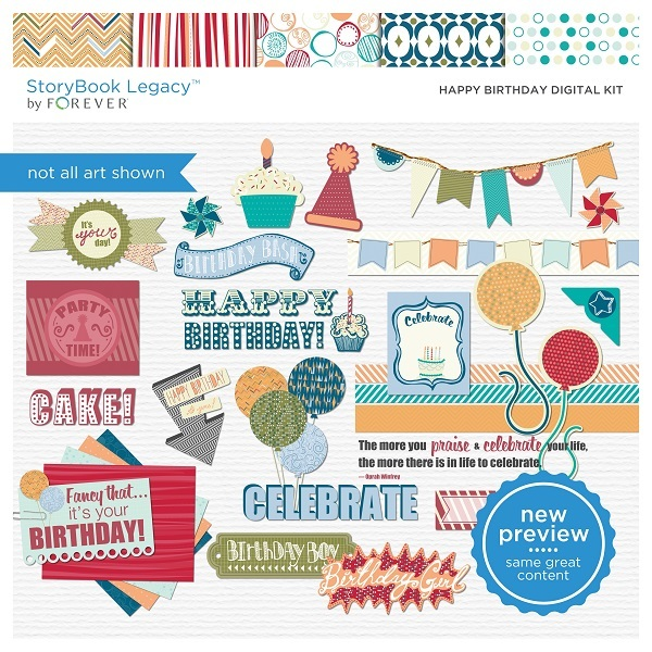 Happy Birthday Digital Kit Digital Art - Digital Scrapbooking Kits