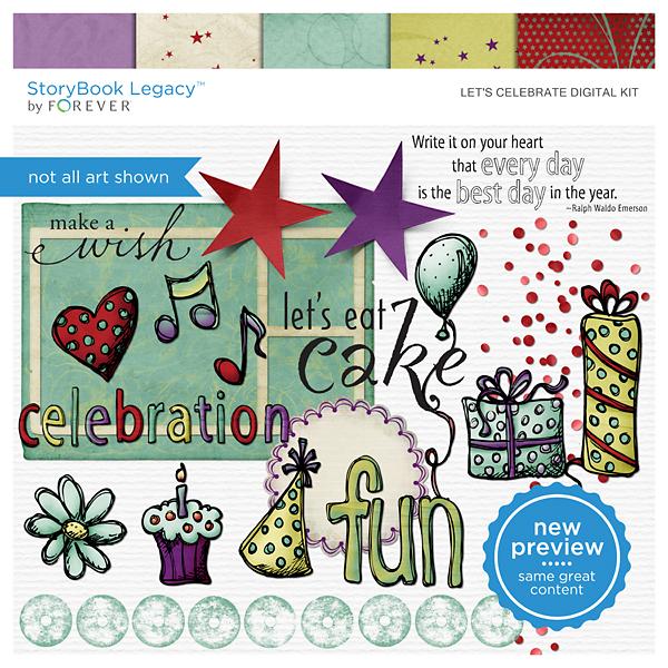 Let's Celebrate Digital Kit Digital Art - Digital Scrapbooking Kits