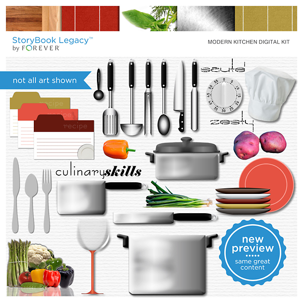 Modern Kitchen Digital Kit Digital Art - Digital Scrapbooking Kits