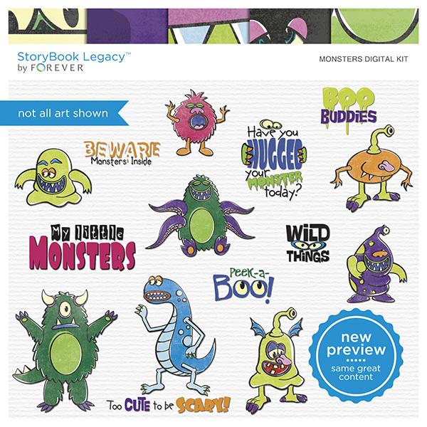 Monsters Digital Kit Digital Art - Digital Scrapbooking Kits