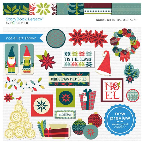 Nordic Christmas Digital Kit Digital Art - Digital Scrapbooking Kits