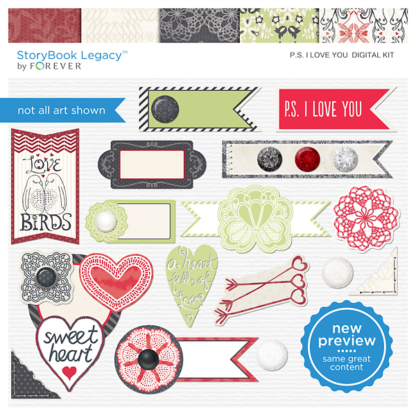 P.S. I Love You Digital Kit Digital Art - Digital Scrapbooking Kits