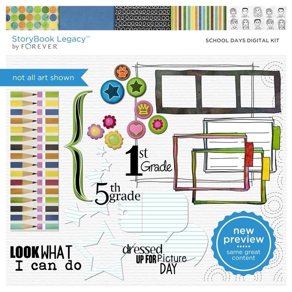 School Days Digital Kit Digital Art - Digital Scrapbooking Kits