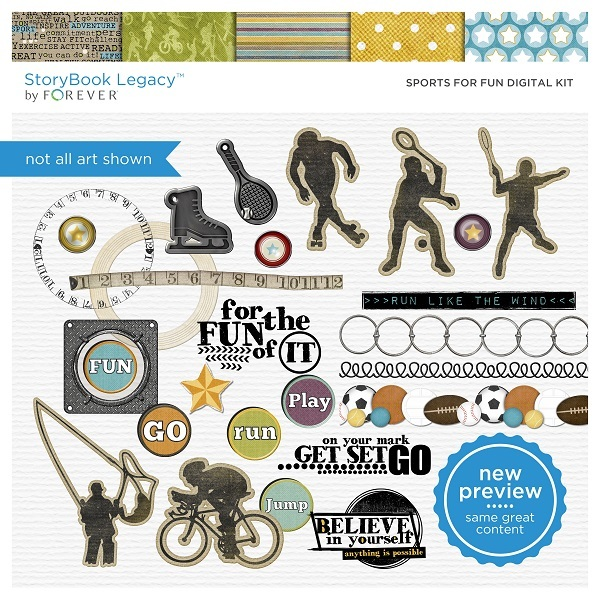 Sports For Fun Digital Kit Digital Art - Digital Scrapbooking Kits