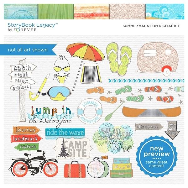 Summer Vacation Digital Kit Digital Art - Digital Scrapbooking Kits