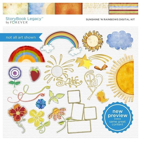 Sunshine 'n Rainbows Digital Kit Digital Art - Digital Scrapbooking Kits