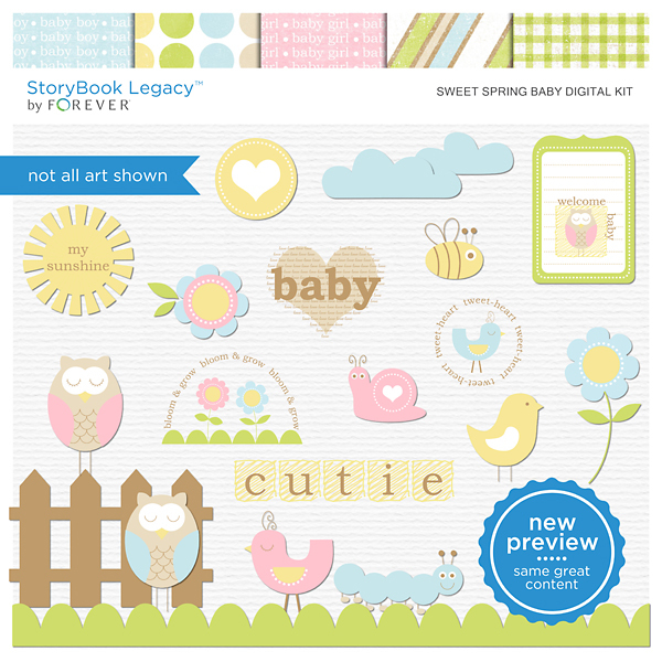 Sweet Spring Baby Digital Kit Digital Art - Digital Scrapbooking Kits