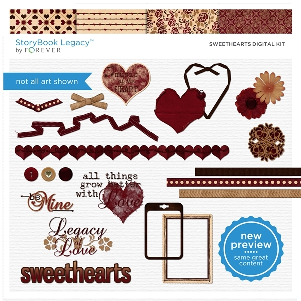 Sweethearts Digital Kit Digital Art - Digital Scrapbooking Kits