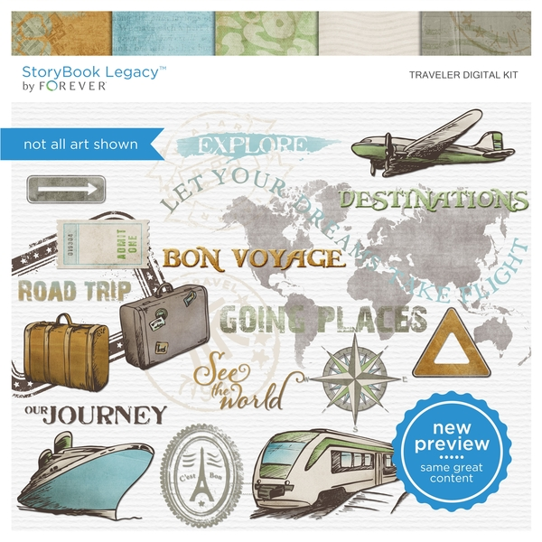 Traveler Digital Kit Digital Art - Digital Scrapbooking Kits
