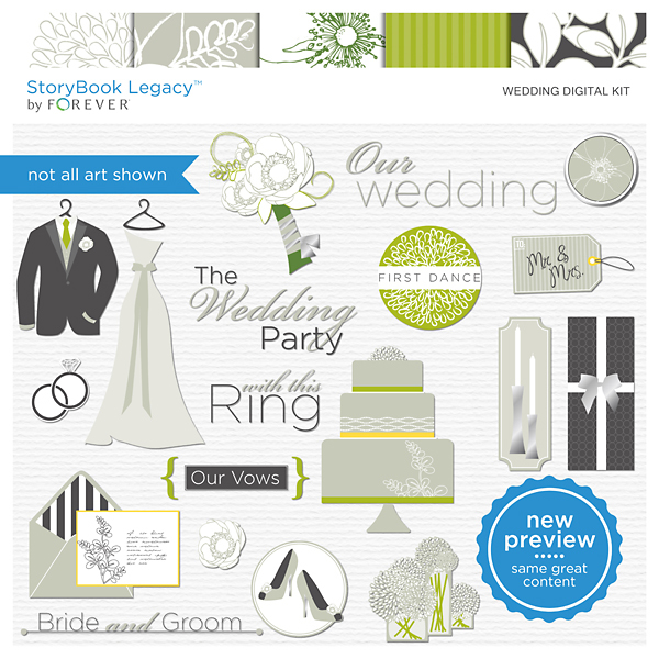 Wedding Digital Kit Digital Art - Digital Scrapbooking Kits