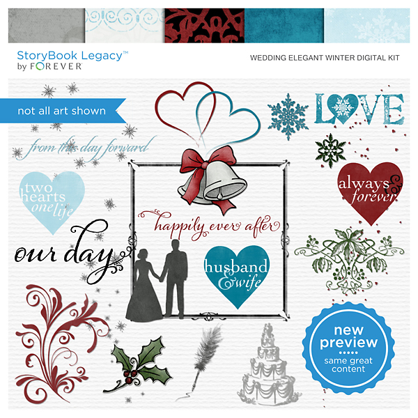 Wedding Elegant Winter Digital Kit Digital Art - Digital Scrapbooking Kits