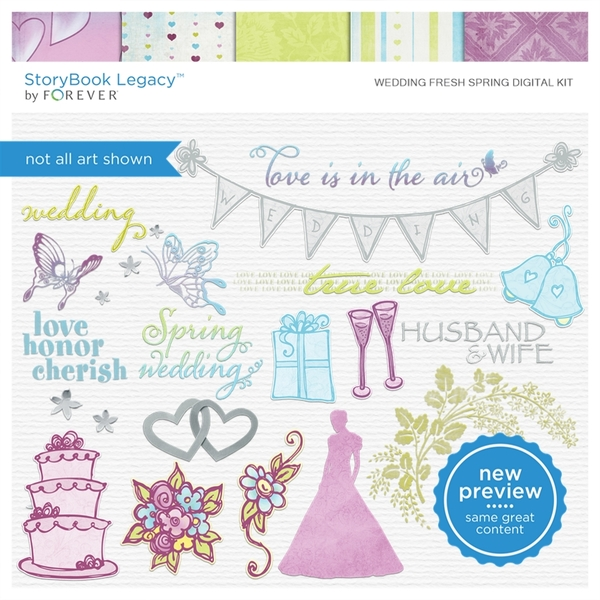 Wedding Fresh Spring Digital Kit Digital Art - Digital Scrapbooking Kits