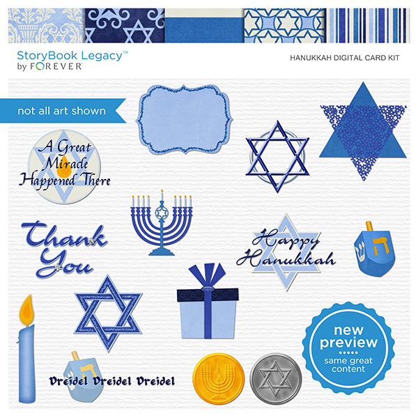 Hanukkah Digital Card Kit Digital Art - Digital Scrapbooking Kits