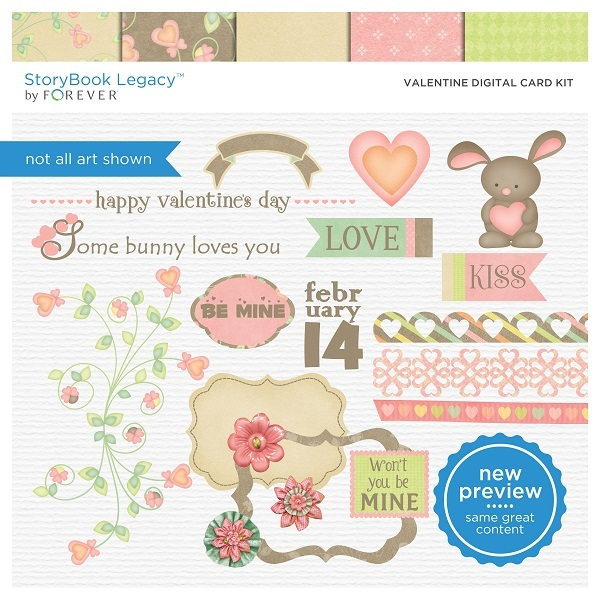 Valentine Digital Card Kit Digital Art - Digital Scrapbooking Kits