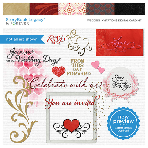 Wedding Invitations Digital Card Kit Digital Art - Digital Scrapbooking Kits