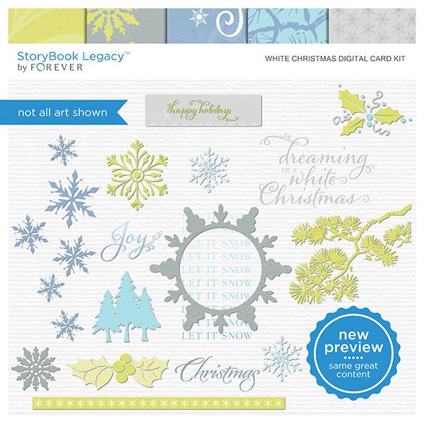 White Christmas Digital Card Kit Digital Art - Digital Scrapbooking Kits