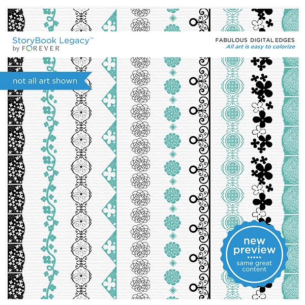 Fabulous Digital Edges Digital Art - Digital Scrapbooking Kits