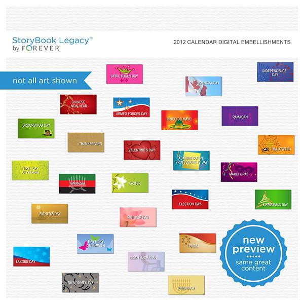 2012 Calendar Digital Embellishments Digital Art - Digital Scrapbooking Kits