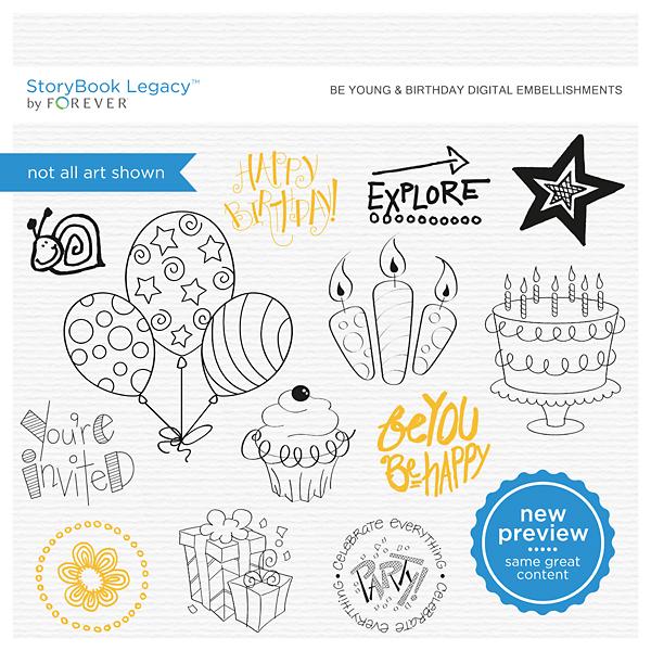 Be Young & Birthday Digital Embellishments Digital Art - Digital Scrapbooking Kits