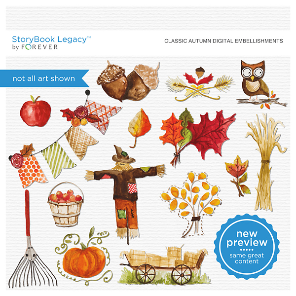 Classic Autumn Digital Embellishments Digital Art - Digital Scrapbooking Kits
