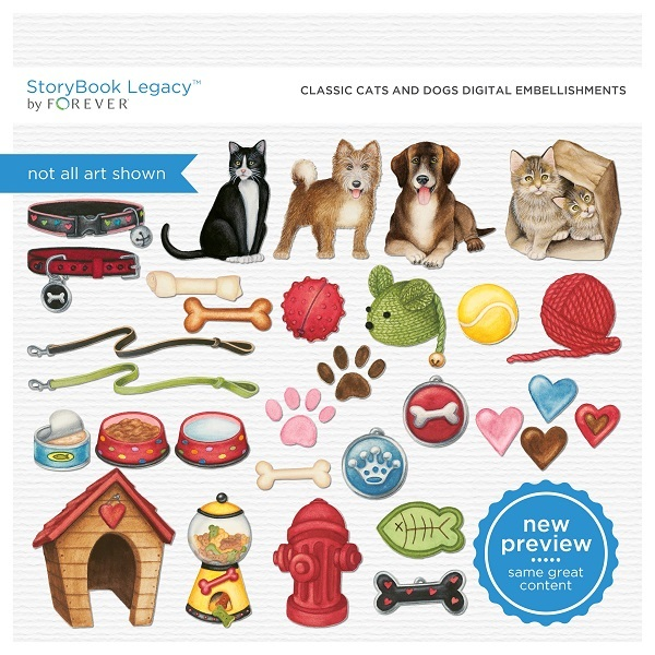Classic Cats And Dogs Digital Embellishments Digital Art - Digital Scrapbooking Kits