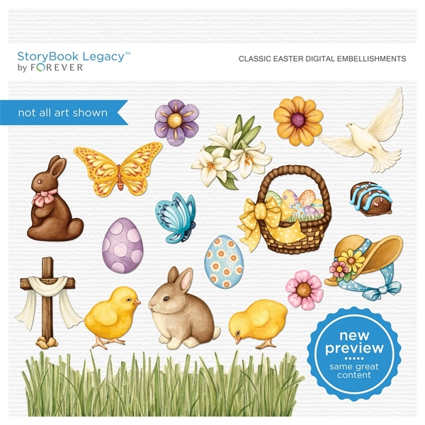 Classic Easter Digital Embellishments Digital Art - Digital Scrapbooking Kits