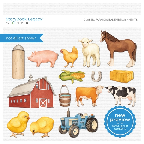 Classic Farm Digital Embellishments Digital Art - Digital Scrapbooking Kits