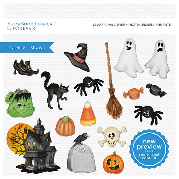 Classic Halloween Digital Embellishments Digital Art - Digital Scrapbooking Kits